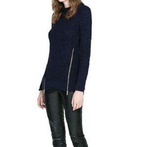 ZARA knit tunic sweater side zippers